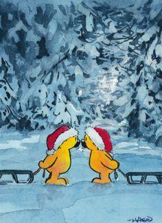 Kerstbeertjes met sleeën- Greetz