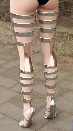 Thigh High Boots of Chrome Hot Shoes, Crazy Shoes, Me Too Shoes, Weird Shoes, Shoes Heels, Thigh High Boots, High Heel Boots, Heeled Boots, Sexy High Heels