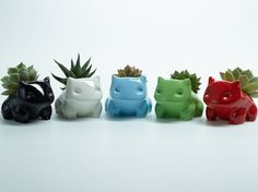 Ceramic Bulbasaur Planter / Flower Pot 2 by SucculentMonsters