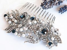 Victorian Style Bridal Hair Accessories, BLUE Swarovski Crystal Wedding Hair Comb, Pearl and Rhinestone Rose Flower Hair Accessories, ROSIE on Etsy, $66.00