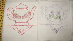 FREE SHIPPING OOAK Set of Seven Pretty Little Teapots Teatowels Hand Embroidered by GinnyParkersBest on Etsy