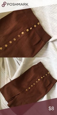 Knit Slit Pencil Skirt Hip-hugging 80s brown knit pencil skirt with gold buttons. (Skirt does not button to close, buttons are just accents) Vintage Skirts Pencil