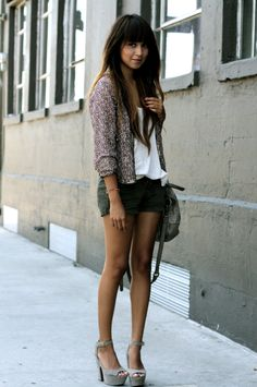 Khaki shorts, white shirt and sparkling cardigan