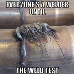 "Fun fact: Whenever someone tries to apply at our shop, we always ask them to weld overhead with 7024. If they're smart enough to know that 7024 is only for flat/horizontal then they get to move on to the actual weld test LOL. Always fun to see ""welders"" who come in and apply for a job and shit their pants when they find out there's a weld test. If you're a newbie and you're out there looking for a welding job, do yourself a favor and learn blueprint reading and welding symbols. #welding…"