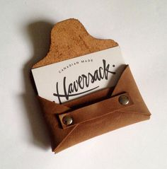 Leather Business Card Holder, Everyday Carry, Business Accessories, Card Protector, Tan Leather Card Case, Entrepreneur Gift, Card Wallet by HaversackLeather on Etsy