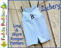 Long & Short Baby Boy's Romper Pattern pdf Jon by FuddieDuddies