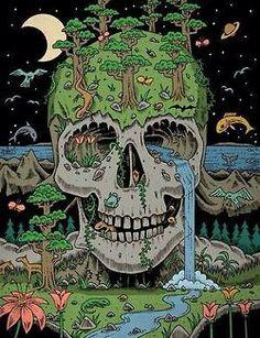 Illustration animals trippy psychedelic skull nature forest sea illusion art print Surreal Art black pen artprint deadhole on paper