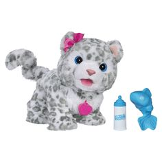 Pet coos, kicks, and walks to you when you shake her rattle Her fur is soft and cuddly More than 45 sound combinations Electronic Flurry, My Peek-a-boo Snow Leopard pet looks and acts like a real snow