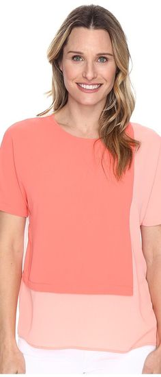 Vince Camuto Extend Shoulder Color Blocked Blouse (Coral Passion) Women's Blouse - Vince Camuto, Extend Shoulder Color Blocked Blouse, 9166106-835, Apparel Top Blouse, Blouse, Top, Apparel, Clothes Clothing, Gift, - Street Fashion And Style Ideas