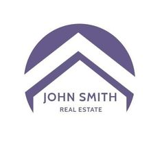 A creative template for a real estate logo. A simple background with a purple design and purple text displaying John Smith Real Estate.