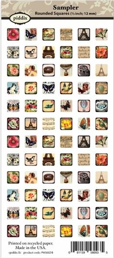 *NEW Piddix Sampler Tiny Square Tile Images Collage Sheet
