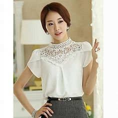 Women 's High Neck Lace Splicing Short Sleeve Blouse Victorian Blouse, Blouse Patterns, Work Casual, Short Sleeve Blouse, Asian Fashion, Modest Fashion, Blouses For Women, Designer Dresses, Ideias Fashion