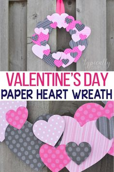 Grab a few basic supplies from your craft stash to make this simple but very cute scrapbook paper heart wreath for Valentines Day! A fun craft project to make with the kids that helps with tracing and scissor skills! Valentine Crafts For Kids, Valentine Day Wreaths, Valentines Day Activities, Valentines Day Party, Valentines Day Decorations, Holiday Crafts, Creative Arts And Crafts, Valentine's Day Crafts For Kids, Craft Projects For Kids