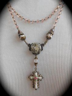 Antique Enamel Cross Necklace Rosary Assemblage by Vinchique