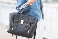 black leather bag & denim #sreetstyle #leather #bag