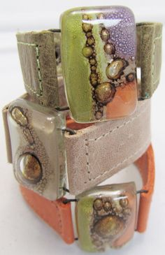 """Leather and fused Glass bracelets (1"""" wide) Argentinean Leather, very soft, colorful, unique. $42.00, via Etsy."""