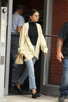 Selena Gomez wearing Coach Selena Grace Bag, Tod's Black Leather Moccasins and Wolford Colorado Bodysuit