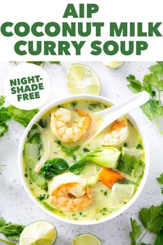 This easy AIP Coconut Milk Curry Soup is filled with bold Thai flavors and yummy veggies. It's so easy that you can have this on the table in about 35 minutes which makes this an ideal weekday meal. Beef Recipes, Vegetarian Recipes, Healthy Recipes, Healthy Soups, Eating Healthy, Easy Recipes, Paleo Stew, Coconut Milk Curry, Curry Soup
