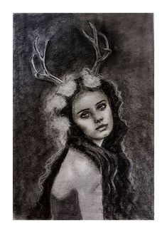"""Elin of the ways ...One of her titles is that of Horned Goddess, and thus Lady of the Beasts. This is the origins of Elen, a reindeer goddess presiding over their migrations and their pathways, and this is where """"the Ways"""" part of her name comes from. She is elusive, shimmering, changeable. She is an antlered goddess who rules the Ways, the Roads, the Passages of human life, both physical and spiritual. She is a Sovereignty Goddess. FOR SALE Size A2 $118 Celtic Goddess, No Way, Pathways, Origins, Dark Art, Goddesses, Roads, Reindeer, Beast"""