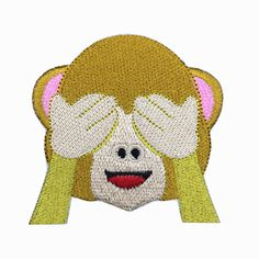 See No Evil Monkey Emoji Patch Embroidered Face Iron on Patch Bag Patches