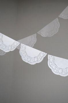 paper DOILY garland WEDDING decoration by twogreenolivetrees