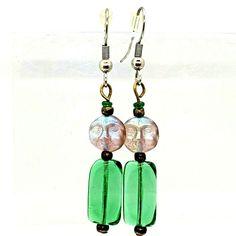 """2"""" Long Frosted Pink Moon Face Green Glass Dangle Pierced Earrings Hook #Handmade #DropDangle Pierced Earrings, Drop Earrings, 90s Jewelry, Moon Face, Pink Moon, Frost, Dangles, Glass, Green"""