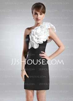 Cocktail Dresses - $89.99 - Sheath One-Shoulder Short/Mini Charmeuse Cocktail Dress With Sash Flower(s) (016008553) http://jjshouse.com/Sheath-One-Shoulder-Short-Mini-Charmeuse-Cocktail-Dress-With-Sash-Flower-S-016008553-g8553