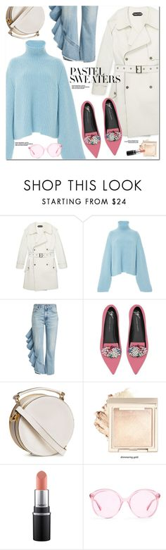 """""""So Sweet: Pastel Sweaters"""" by oshint ❤ liked on Polyvore featuring Khaite, Citizens of Humanity, Giuseppe Zanotti, Gucci and pastelsweaters"""