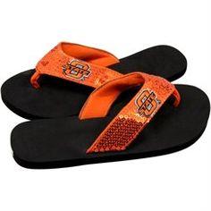 Oklahoma State Cowboys Ladies Team Color Sequin Flip Flops - Black/Orange