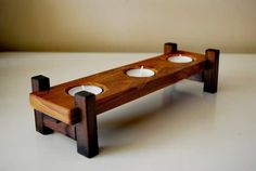 Handmade candle holder. Made entirely of recycled oak and beech wood. Made by S.M.Art.