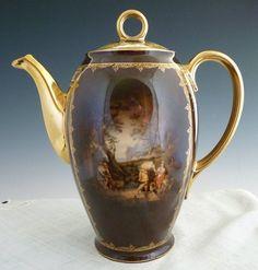 Bohemian porcelain coffee pot portrait Greek tragedy Czechoslovakia