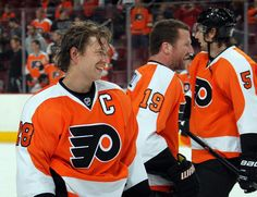Claude Giroux  28 Scott Hartnell  19 and Braydon Coburn  5 Philadephia Flyers  Scott 73f886a17