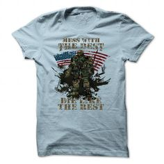 Mess with the best, die like the rest Army T-Shirt - #white tee #tshirt drawing. LIMITED TIME => https://www.sunfrog.com/Outdoor/Mess-with-the-best-die-like-the-rest-Army-T-Shirt-LightBlue-Guys.html?68278