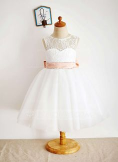 Ball Gown Knee-length Flower Girl Dress - Tulle/Lace Sleeveless Bateau With Sash/Bow(s) (010087933) - JJsHouse