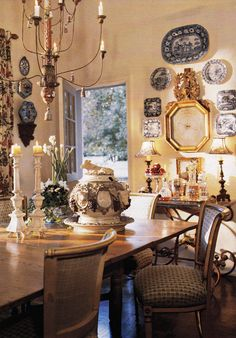 Wall vignette with blue and white porcelain - Charles Faudree - Traditional Home May 2003