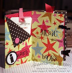 "Pocket mini album by Kristina Werner. Could try this with 1/8"" score tape instead of staples."