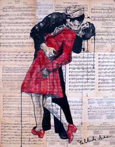 "Saatchi Online Artist Atelier Palluch; Painting, ""Famous Kiss"" #art"