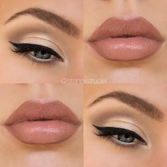 Gorgeous subtle gold smokey eye & nude lips