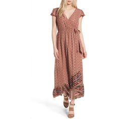 Women's Band Of Gypsies Faux Wrap Maxi Dress ($36) via Polyvore featuring dresses, faux wrap dress, flutter-sleeve dress, ruffle wrap dress, sleeve maxi dress ve wrap maxi dress