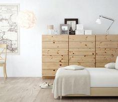 chambre adulte avec commode en bois brut de style scandinave