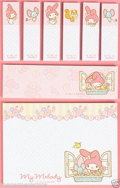My Melody Memo Note Pads Sticky Post-it / Sanrio Japan