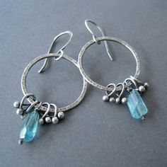 Apatite Nugget Earrings Fine Silver Fringe Handmade by loriyab