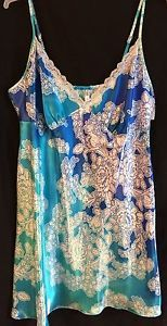 GEORGE NWT Pretty Floral Print Satin Lace Blue Nightgown/Chemise  2X (18-20)