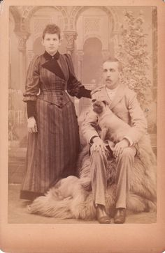 couple and their pug , dated 1898 on the reverse.