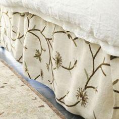 Poisitano Burlap Crewel Bedskirt | Ballard Designs - it's these little details that make a room