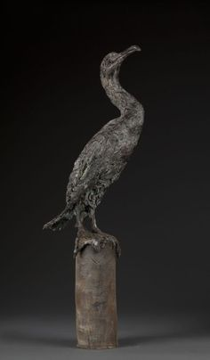 Bronze Garden Or Yard / Outside and Outdoor sculpture by artist Ans Zondag titled: 'cormorant (Perched Standing life size Seabird statue)'