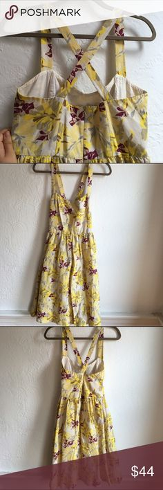 French Connection yellow floral sundress Yellow, white and gray with maroon colored leaves. Linen and cotton blend with cotton lining. Beautiful construction. A bit retro but extremely wearable. Size 8 US. Great condition, only worn once Dresses Midi