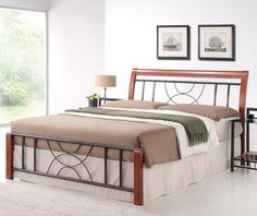Features: The frame is made of straight slats on tape Modern shapes in the headboard and footboard The combination of wood and metal gives the bed a Bed Frame With Mattress, Upholstered Bed Frame, Headboard And Footboard, Steel Furniture, Bed Furniture, Steel Bed Design, Home Window Grill Design, Cherry Furniture, Ottoman Bed