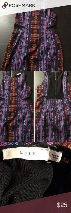 Lush Tribal Dress I'm selling a Lush tribal dress. It was bought at a local boutique. Unfortunately I've never worn this dress due to it being too big. I just had to have it and they didn't have my size 🙄 It has a sheer back as well as sheer sides on the front. The tribal design is definitely super cute! Lush Dresses Mini