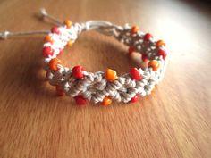 Macrame Bracelet Beaded Hemp Bracelet Bohemian by JackZenHempWorks